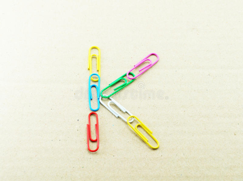 Alphabet and paper clip. In letter k stock photos