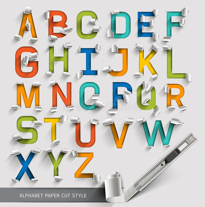 Alphabet paper cut colorful font. royalty free illustration