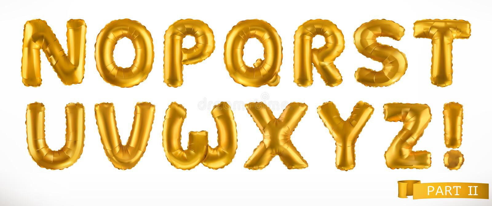 Alphabet part 2. Golden inflatable toy balloons. Letters N - Z. 3D realistic font. Vector icon set. On white background stock illustration