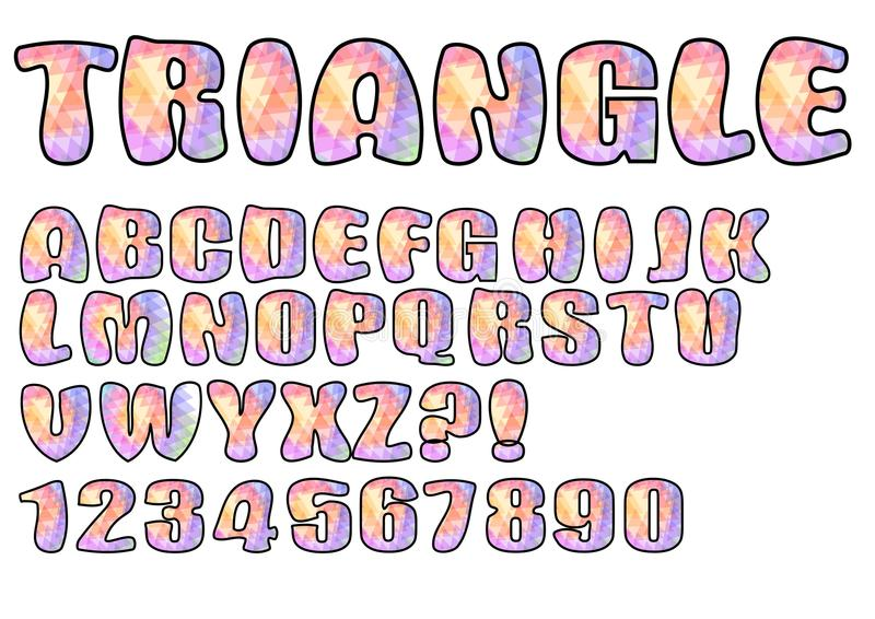 Alphabet in pastel triangle texture design, uppercase letters, numbers, question and exclamation mark vector illustration