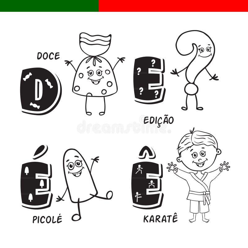 Alphabet portugais Sucrerie, point d'interrogation, glace à l'eau, karaté Les lettres et les caractères illustration libre de droits