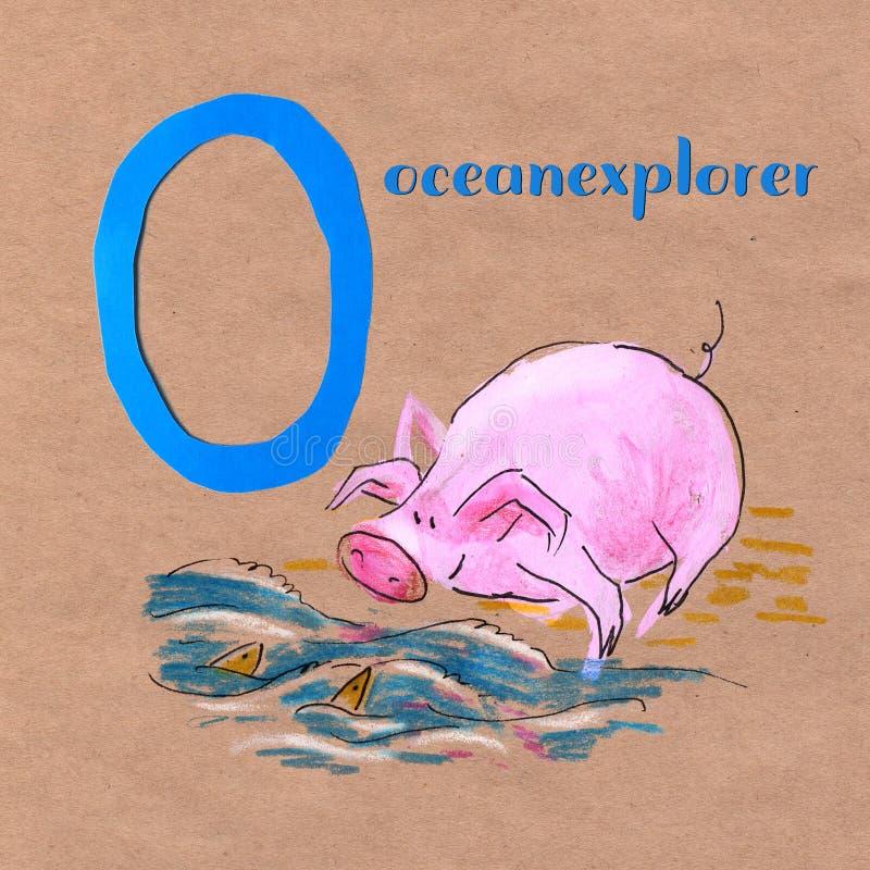 Alphabet pour des enfants avec la profession de porc Lettre O Explorateur d'océan illustration libre de droits