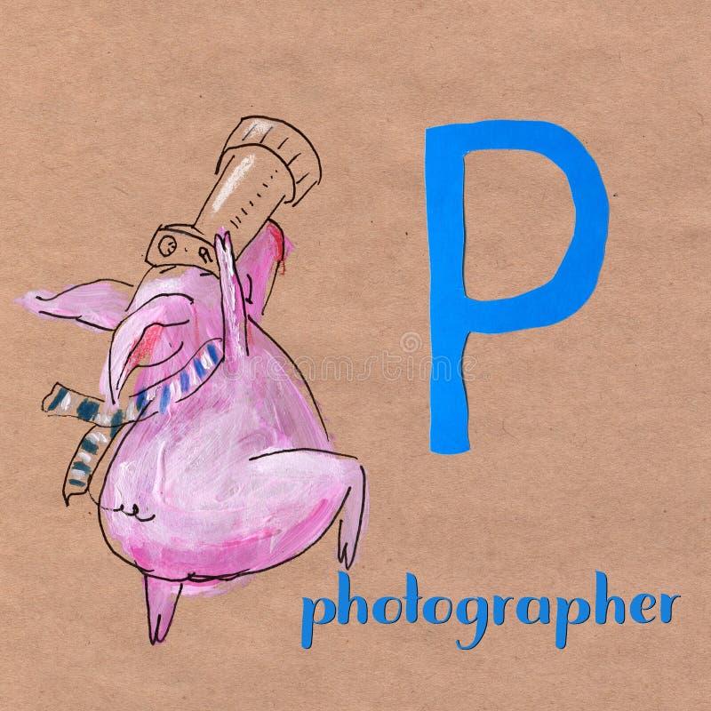 Alphabet pour des enfants avec la profession de porc Marquez avec des lettres P photographe illustration de vecteur