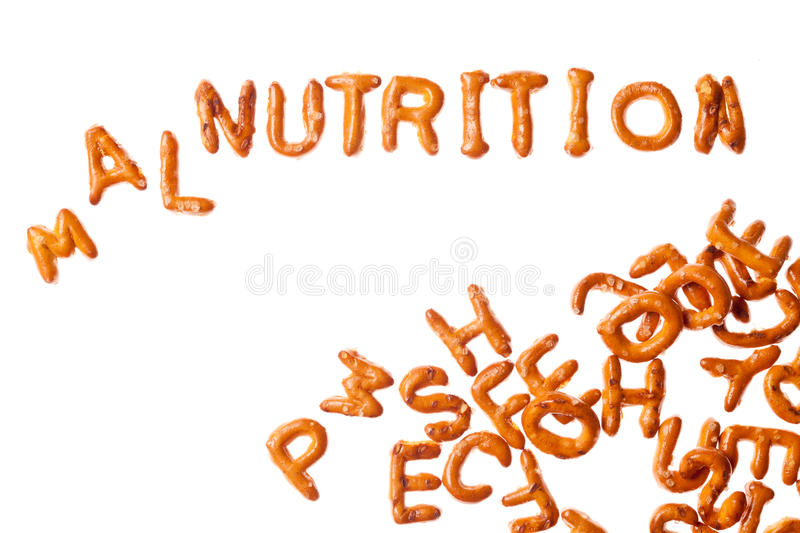 Alphabet pretzels and word MALNUTRITION isolated royalty free stock photo