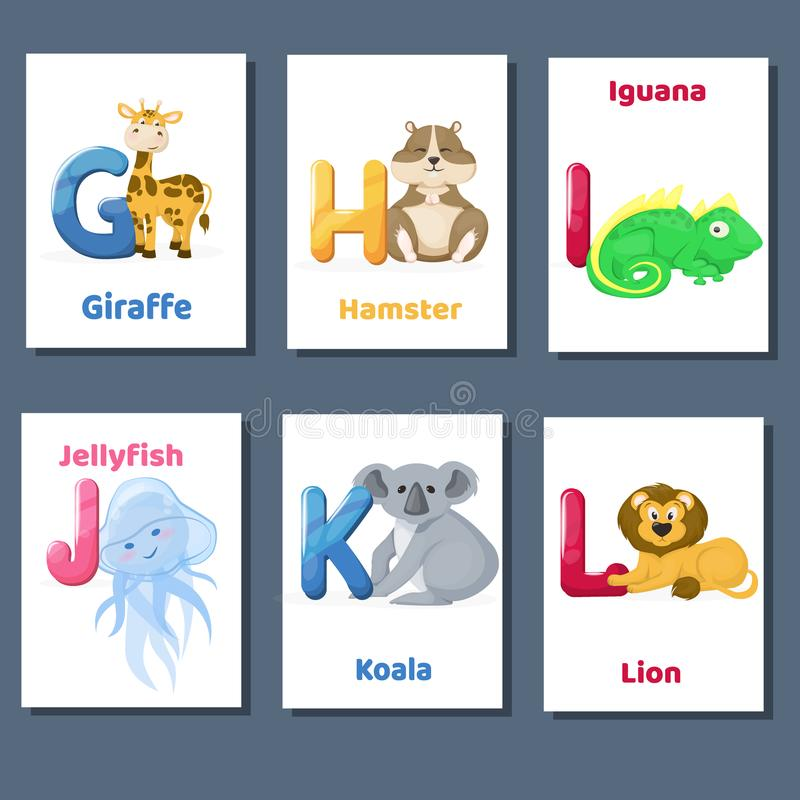 Alphabet printable flashcards vector collection with letter G H I J K L. Zoo animals for english language education. stock illustration