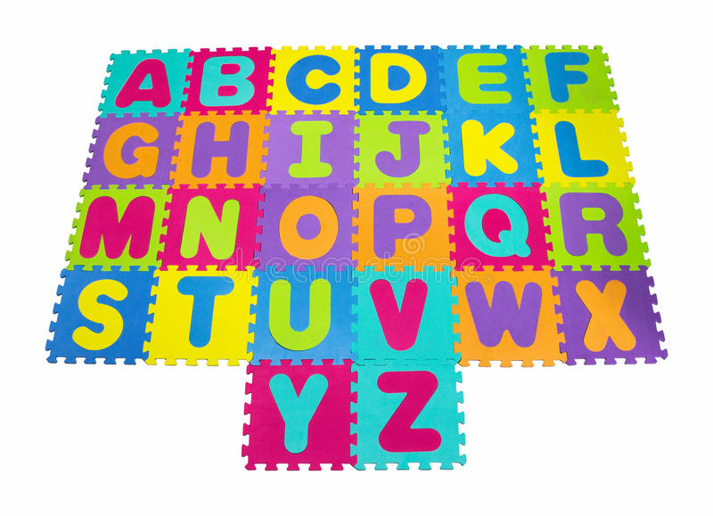 Alphabet puzzle isolated on white background. With clippingpath stock image