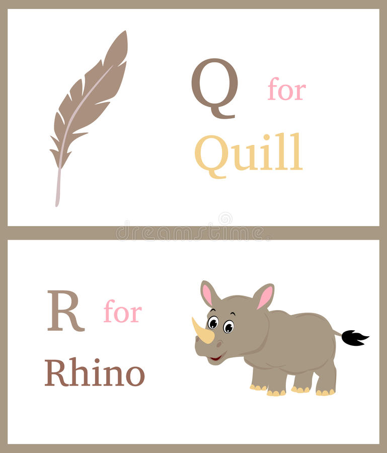 Alphabet Q and R. With illustrations of quill and rhino useful for kids learning. Visit: https://graphixandcode.com vector illustration