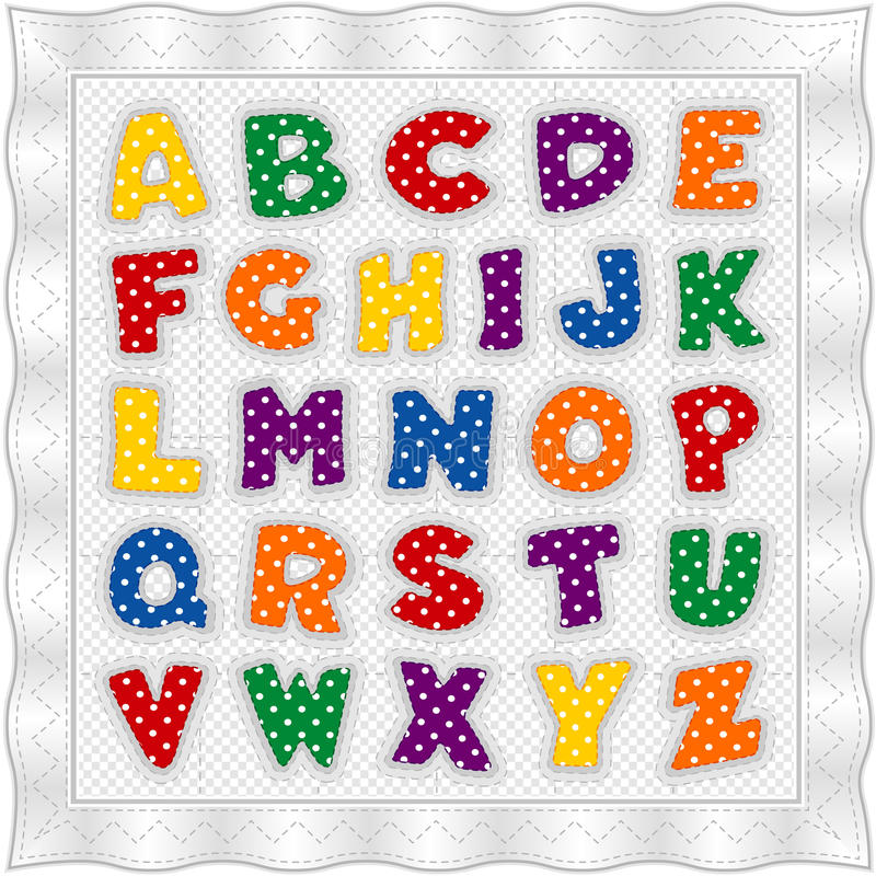 Alphabet Quilt, Primary Colors Royalty Free Stock Photo