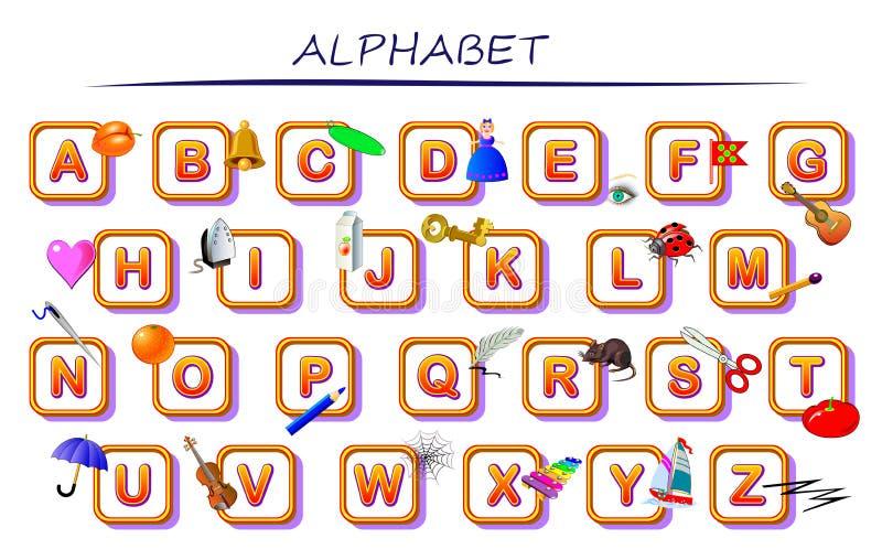 Alphabet réglé pour des enfants Éducation d'ABC dans l'école maternelle Collection anglaise de lettres Table imprimable pour le m illustration de vecteur