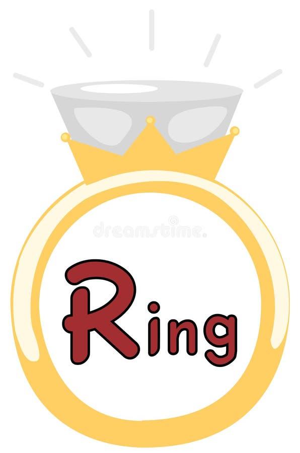 Alphabet R for ring vector illustration