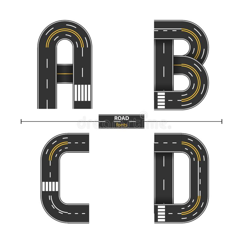 Free Alphabet Road In A Set ABCD Royalty Free Stock Photo - 114275415