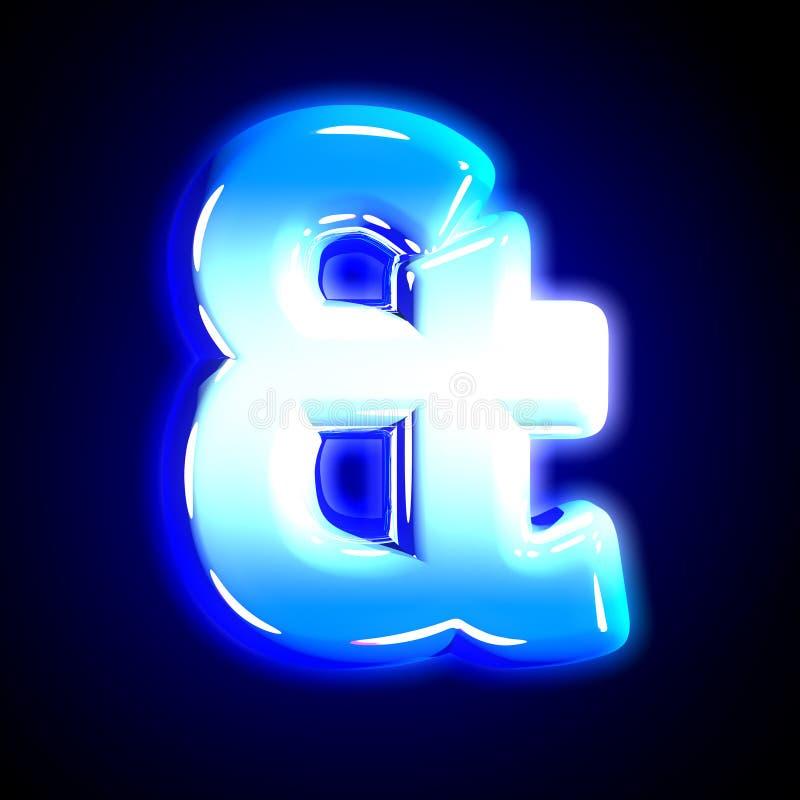 Alphabet rougeoyant créatif de neige givrée bleue - esperluète d'isolement sur le fond noir solide, illustration 3D des symboles illustration de vecteur