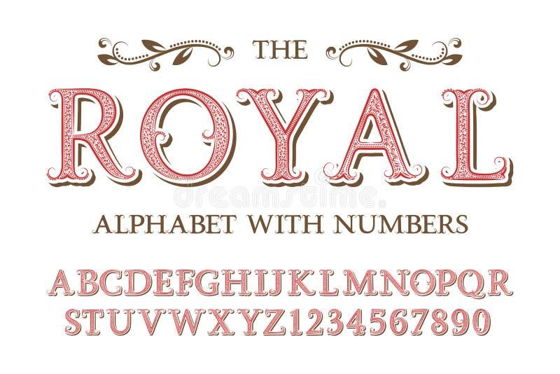 Alphabet royal avec des nombres dans le vieux style anglais de cru illustration de vecteur