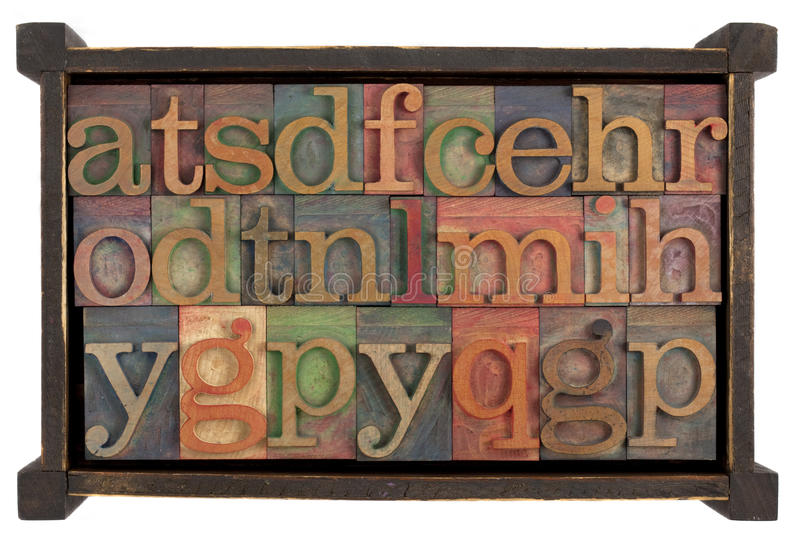 Alphabet in rusti wooden box royalty free stock photography