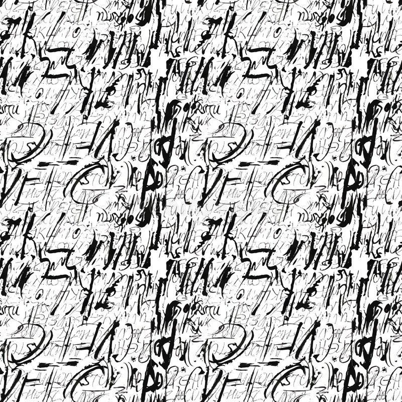 Alphabet seamless pattern. Modern expressive digital pattern. Vector illustration royalty free illustration