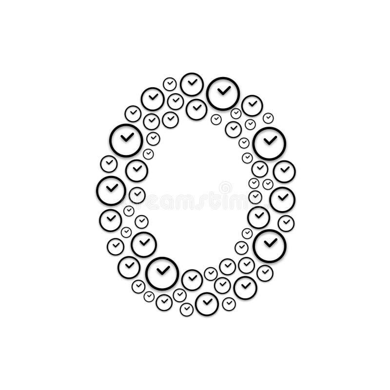Alphabet set letter number zero or 0, Clock pattern, Time system concept design illustration isolated on white background, vector. Eps 10 royalty free illustration