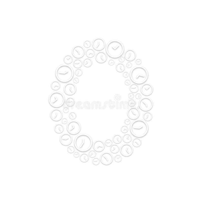 Alphabet set letter number zero or 0, Clock shuffle pattern, Time system concept design illustration isolated on white background. Vector eps 10 vector illustration