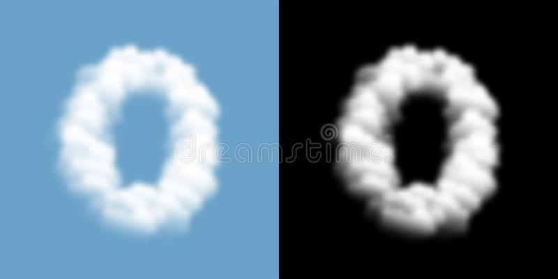 Alphabet set letter number zero or 0 Cloud or smoke pattern, transparent illustration isolated float on blue sky background, with. Opacity mask, vector eps 10 vector illustration