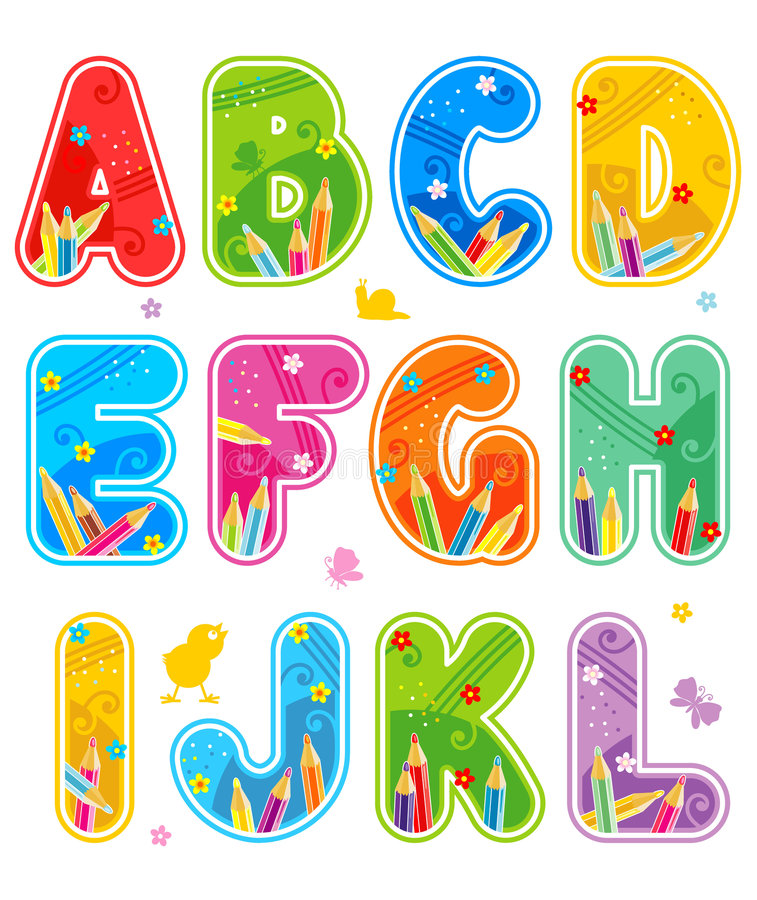 Alphabet set letters A - L stock photo
