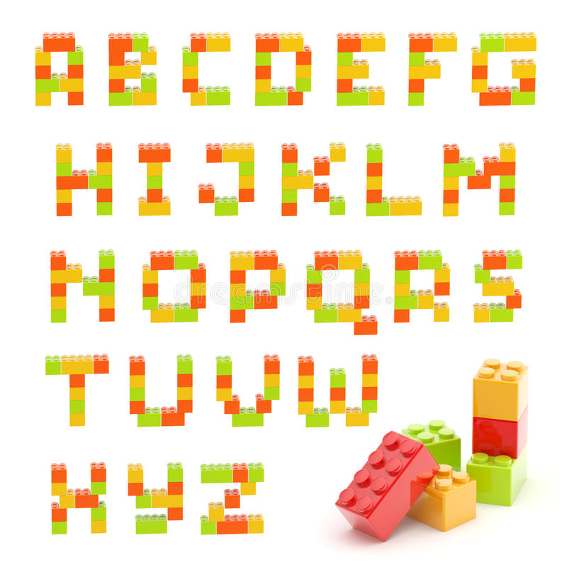 Alphabet set made of toy blocks isolated vector illustration