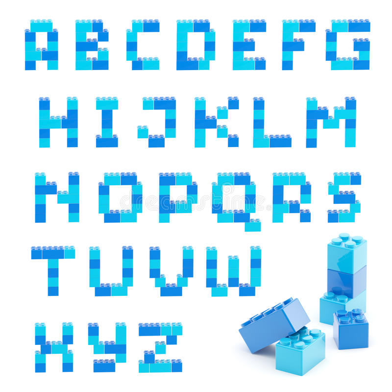 Alphabet set made of toy blocks isolated stock illustration