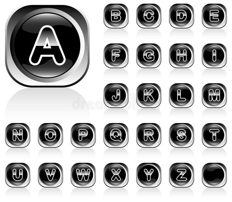 Alphabet shiny buttons stock image