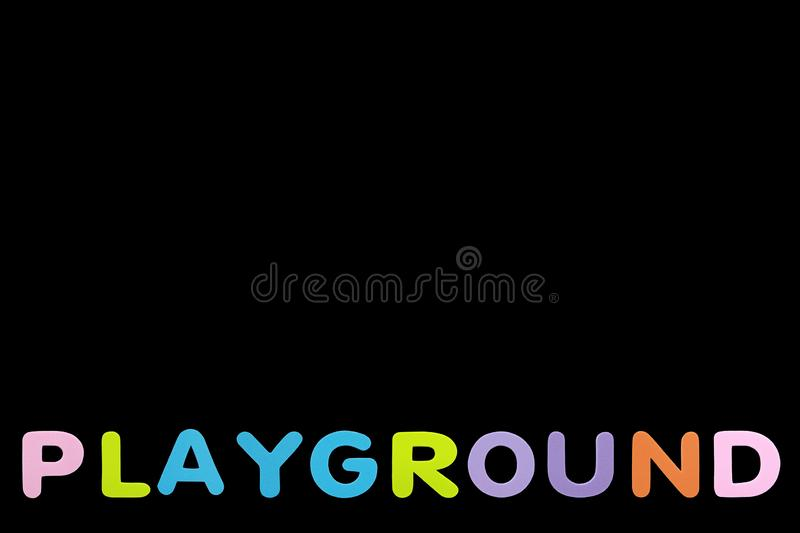 Alphabet sponge rubber of text `PLAYGROUND` isolated over black background with copy space.  stock image