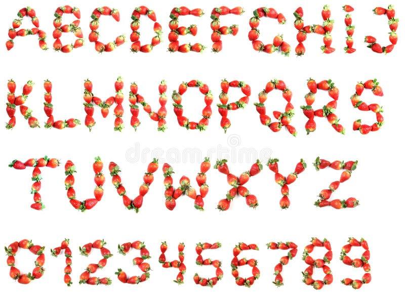 Alphabet of strawberries stock photography
