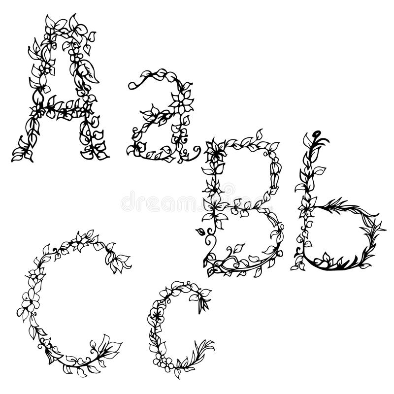 Download Alphabet In Style Of A Sketch The Letters B C Stock