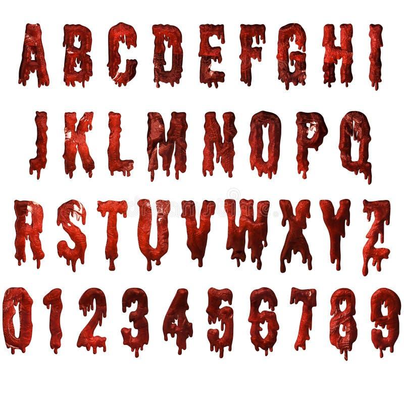 Alphabet texturisé d'égouttement rouge de sang illustration stock