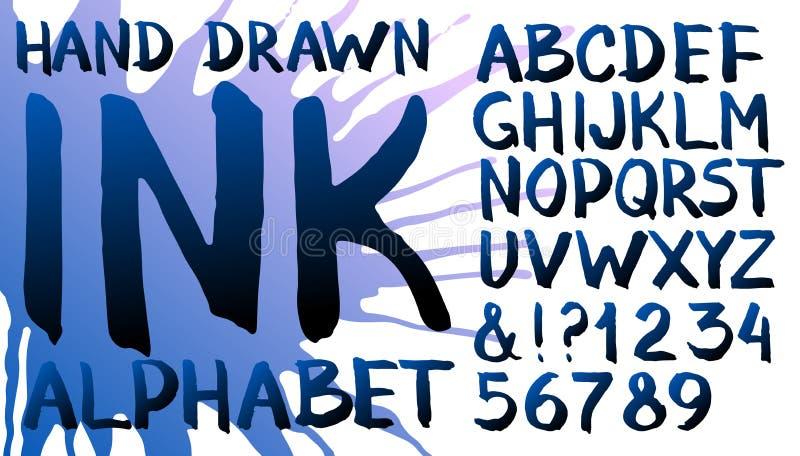 Alphabet tiré par la main d'encre illustration de vecteur