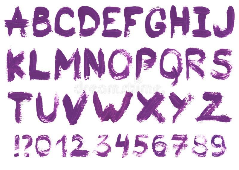 Alphabet tiré par la main de gouache illustration de vecteur