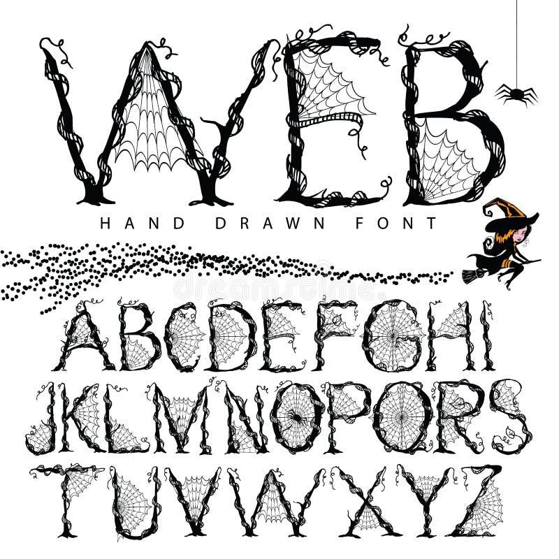Alphabet tiré par la main de police de Web illustration libre de droits