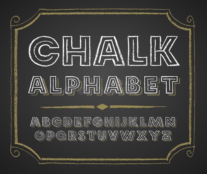 Alphabet tiré par la main sur le tableau illustration stock