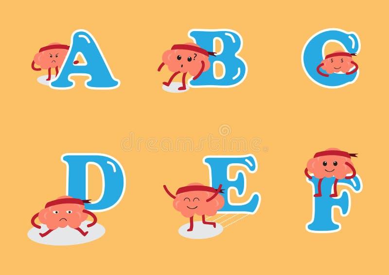 Alphabet A to F set with brain cartoon vector illustration