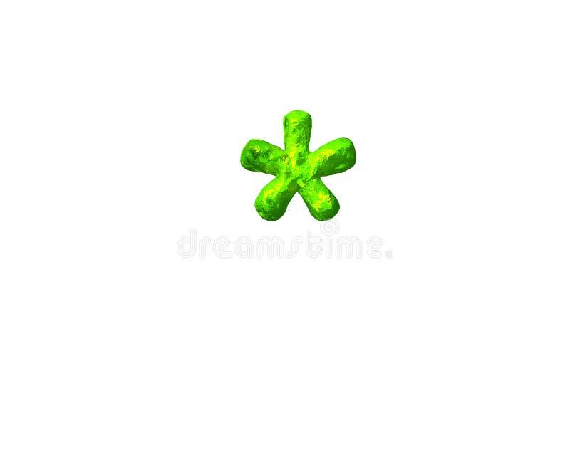 Alphabet toxique de gelée - astérisque dans le style cosmique d'isolement sur le fond blanc, illustration 3D des symboles illustration stock