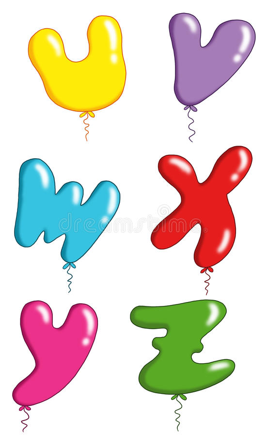 Alphabet - toy balloons 6 stock photography