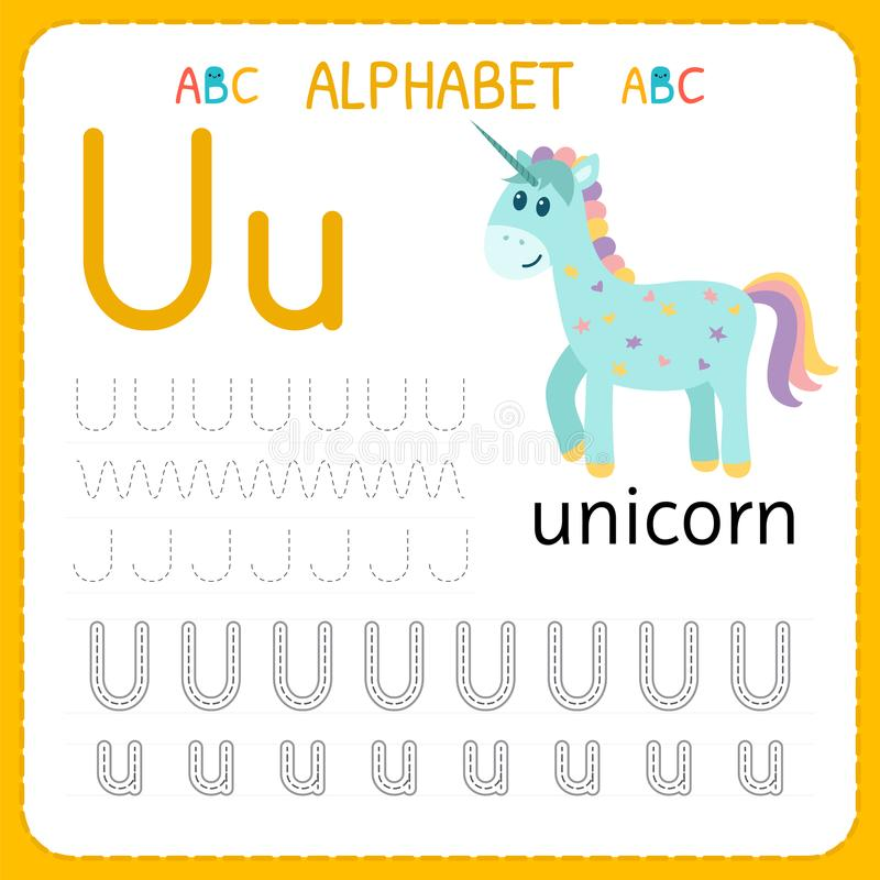 Free Alphabet Tracing Worksheet For Preschool And Kindergarten. Writing Practice Letter U. Exercises For Kids Stock Images - 113829384