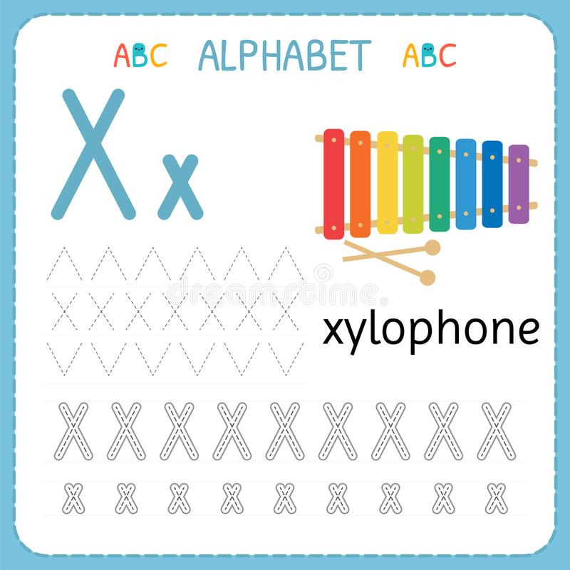 Download Alphabet Tracing Worksheet For Preschool And Kindergarten. Writing  Practice Letter X. Exercises For