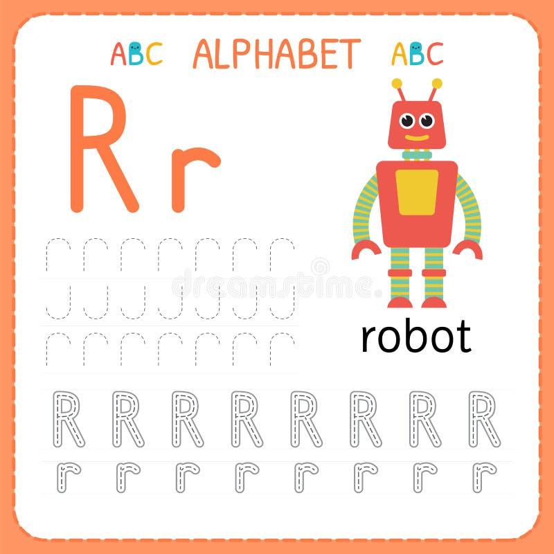 Alphabet Tracing Worksheet For Preschool And Kindergarten. Writing Practice  Letter R. Exercises For Kids Stock Vector - Illustration Of Child, Learn:  113829353