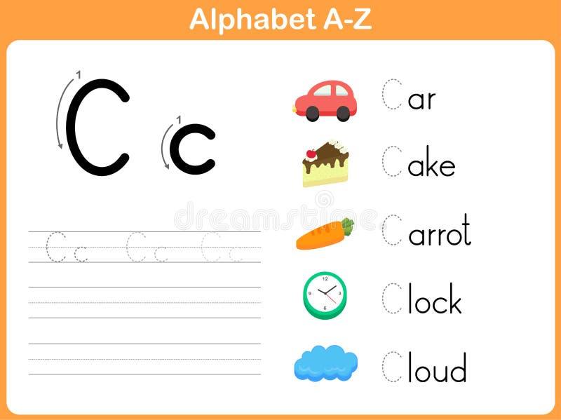 Alphabet Tracing Worksheet vector illustration