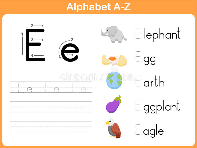 Alphabet Tracing Worksheet stock illustration