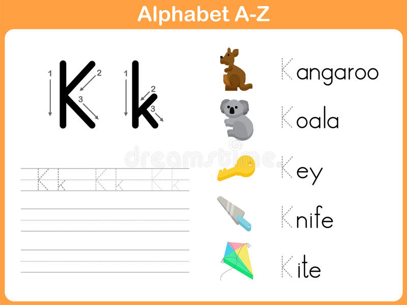 Alphabet Tracing Worksheet stock vector. Illustration of spelling ...