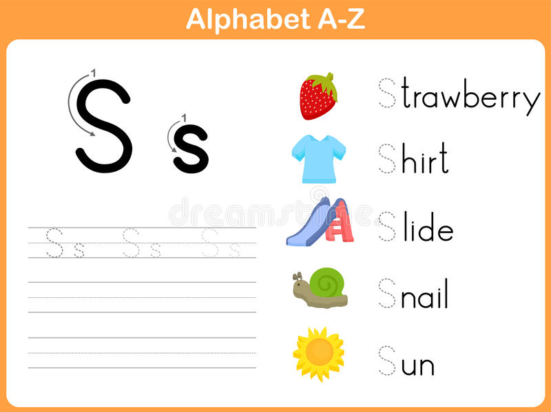 Alphabet Tracing Worksheet stock vector. Illustration of education ...