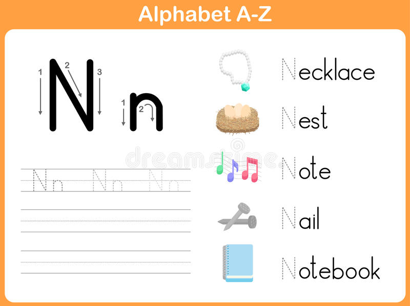 Alphabet Tracing Worksheet: Writing A-Z Stock Vector - Illustration ...