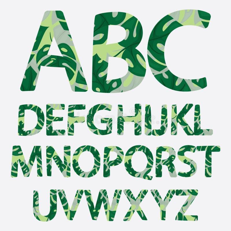 Alphabet tropical fait de palmettes de monstera Vert tiré par la main p illustration libre de droits