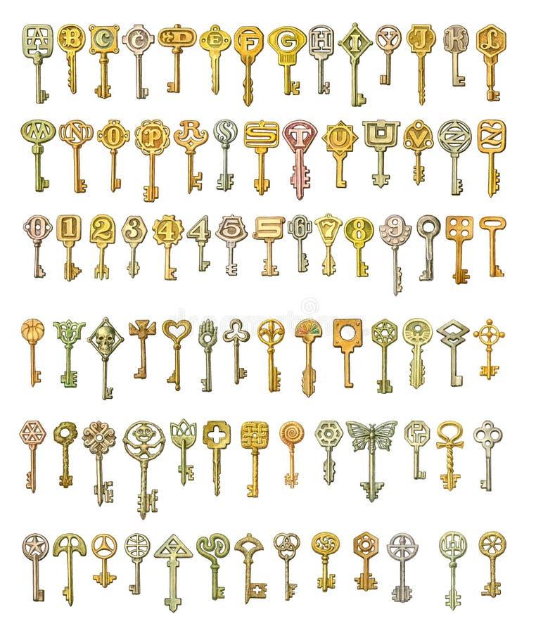 Alphabet und Symbole auf Märchenschlüsseln Malen, lokalisiert auf wh lizenzfreie abbildung