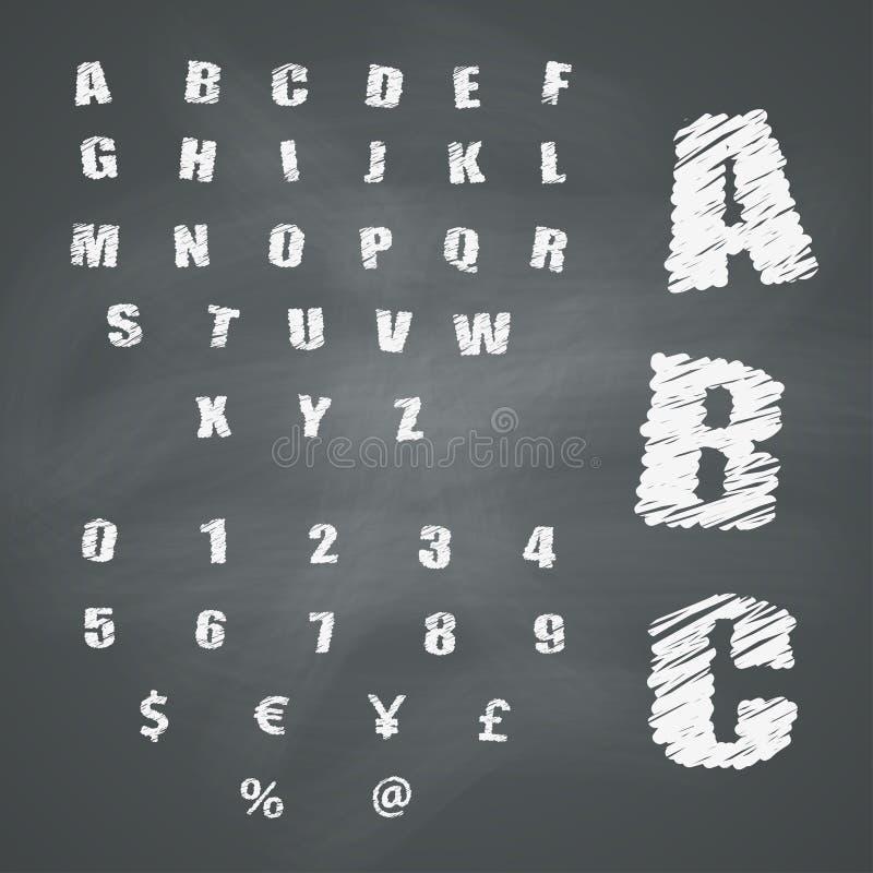 Alphabet und Symbole auf Tafel vektor abbildung