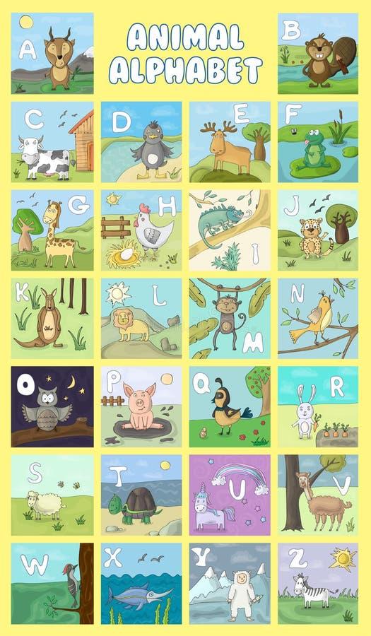 Alphabet und Tiervektor-Satz Abbildung Bildung für Kinder, Vorschule, nett, Plakat Charaktere der Handgezogene wild lebenden Tier vektor abbildung