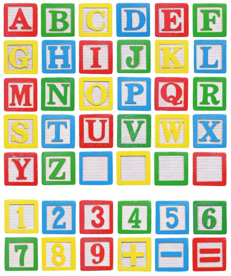 Alphabet und Zahlen stockbilder